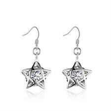 """Sterling Silver Plated Earrings Dangle Drop AAA Zirconia Fish Hook Star .6"""" L343"""