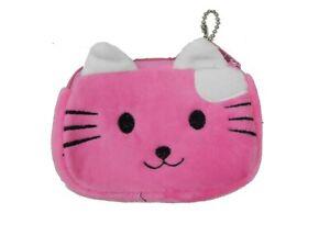Pink Kitten Plush Face Pouch Change Purse Coin Bag Key Ring Case Zipper Wallet
