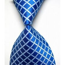 Mid Blue Hand Made 100% Pure Silk Neck Tie with White Diamond Pattern