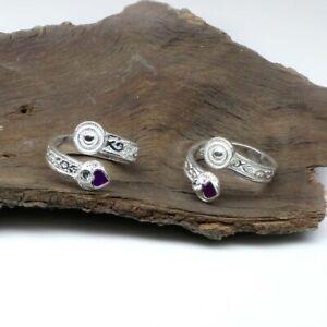 Women toe rings sterling silver adjustable Handmade Indian Crystal bichhiya