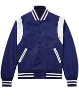 New Varsity Bomber Baseball College All Satin Royal Blue & White Strip jacket
