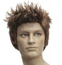 Mens Brown Spikey Quiff Wig Australian Boyband Elvis Fancy Dress