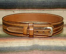 Vintage Basketweave Tooled Stamped Brown Leather Western Ranger Belt 30 New