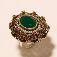 Natural Emerald Ruby Ring 925 Sterling Silver Two Tone Turkish Statement Jewelry