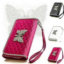 Butterfly Rhinestone Mobile Phone Case Protective Case Flip Cover Folding Pouch Case Cover