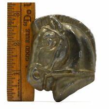 """VTG/Antique BRASS-BRONZE HORSE-HEAD PAPERWEIGHT 3"""", 12.8 oz. Charm TRINKET Decor"""