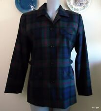 Charter Club Women's Blazer Plaid Blue Green Red 100% Wool Vintage Made in USA