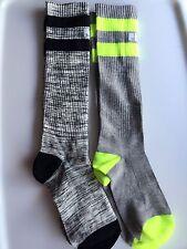 2Pair Women PINK Victoria's Secret grey Knee high Stockings Stripe socks Tights