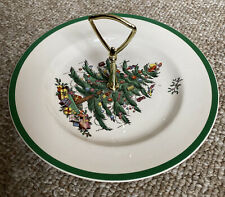 SPODE ENGLAND Christmas Tree Tidbit Tray Plate wGold Handle Slightly Used S3324T