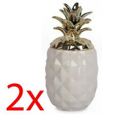 Set of 2 Ceramic Pineapple Storage Ornament Home Trinket 15cm Keepsake Gold