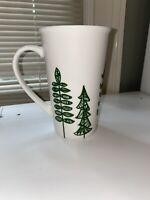 Starbucks Pine Trees Green White Coffee Tall Mug Cup 2015 Christmas 17.8FL oz