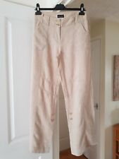 Principles Beige Straight Leg Trousers, 100% Linen, Roll up Bottoms, Size 12, GC