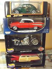 4 1:18 DIECAST CARS BY HOT WHEELS MAISTO MOTORMAX ~VOLKSWAGEN, BELAIR, MERCURY~