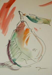 "JOSE TRUJILLO ORIGINAL Watercolor Painting Expressionism 6x9"" Pear Kitchen Decor"