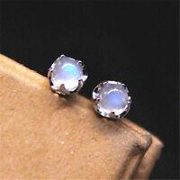 Fine Real S925 Sterling Silver White MoonStone Women Round Stud Earrings