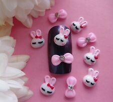"""10 pcs x """"Easter White Bunny Pink Rhinestone Bows"""" 3D Nail Art Kawaii Nail Craft"""