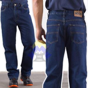 PANTALONI Blue JEANS Blu UOMO Pantalone LAVORO Bottoni ZIP con TASCHE Cotone MAN