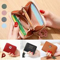 Women Small Zip PU Leather Wallet Card Holder Coin Purse Mini Bag Casual Handbag