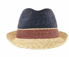 $125 Raffaello Bettini Bloomingdales Straw Hat  Navy  Brown Size Medium Italy