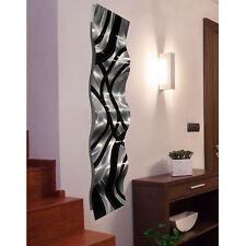Jon Allen Metal Art Wall Accent Sculpture Wave 3D Abstract Black Silver Decor