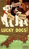 """Vintage Illustrated Travel Poster CANVAS PRINT Lucky Dogs Map England 24""""X16"""""""