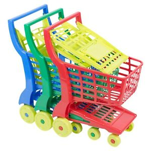 Kids Large Plastic Shopping Basket Trolley Cart Role Play Summer Indoor Fun Toy