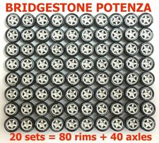 1/64 tires - 5 spoke rims fit Hot Wheels Matchbox diecast - 20 set -R011-20 K