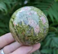 54mm UNAKITE Sphere Crystal Stone Balance & Release U1 Reiki Charged 9.2oz