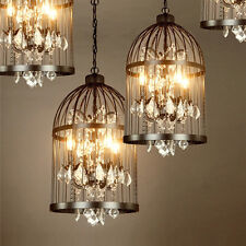 Retro Birdcage Iron Dining Villa Chandelier Lamp LED Hotel Crystal Pendant Light