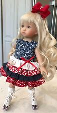 "10"" Boneka Dianna Effner Tuesday's Child Red white Blue Tiered Dress No skates"