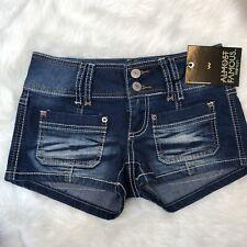 NWT Almost Famous Cutoff Denim Shorts Size 0 Zero Juniors Distressed Jean NEW