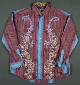 Robert Graham Striped Embroidered Flip Cuff Long Sleeve Shirt Medium Short