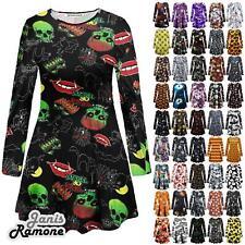 Womens Halloween Pumpkin Web Print Flared Fancy Mini Swing Dress Top Plus Size