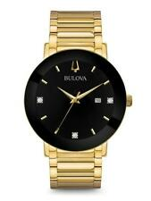 Bulova Men's Gold Tone Stainless Steel With Three Diamonds on Black Dial 97D116