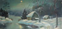LARGE ANTIQUE OIL PAINTING WINTER RIVER LANDSCAPE HUTS SIGNED