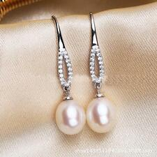 Women Crystal Natural White Pearl Earring Charm Silver Hook Ear Stud Jewelry