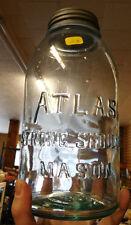 Vintage ATLAS STRONG SHOULDER Mason Embossed Aqua Glass Canning Jar (AB1167)