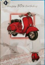 Happy 30th Birthday card, suitable for male or female, scooter theme, brand new