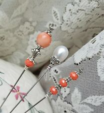 Hat Pins 3 Antique Vintage Inspired Victorian, Orange Glass & Pearl, Silver Bead