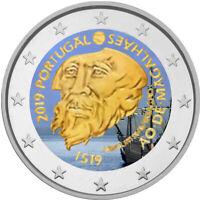 2 Euro Gedenkmünze Portugal 2019 coloriert / mit Farbe Farbmünze Magellan     2