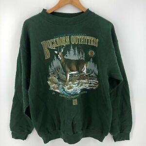 Tultex Sweatshirt Men's XL Green Rugged Activewear Buckhorn Outfitters 1995 Vtg