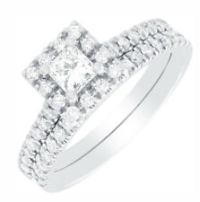 GIA Certified Princess and Round Cut Diamond Halo Style Wedding Ring Set 2.20