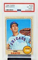 1968 Topps #235 HOF Chicago Cubs RON SANTO Baseball Card PSA 6 (OC) EXCELLENT-MT