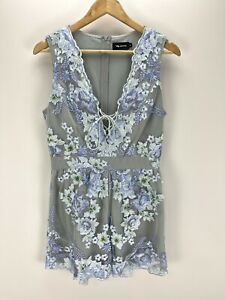 VG Edition Blue Floral Embroidered Sleeveless V-Neck Playsuit Size 12