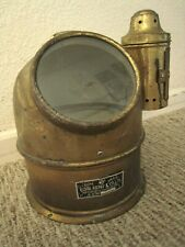 Orig Brass & Glass Ship'S Lifeboat Compass Gimbaled Binnacle + Oil Lamp Helmet