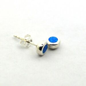 Blue-Green Opal 925 Silver Stud Earrings Tiny Sterling Round Studs~Pair~2 Sizes