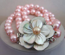 3 Rows 8 mm Pink Shell Pearl White Gold Plated Shell Flower Clasp Bracelet