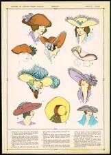 C1920 antica stampa francese moda Cappelli Cappello Donna Headwear (35)