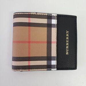 Burberry Tartan Check Canvas Leather Bi-Fold Wallet w/ Coin Defect| Beige | $380