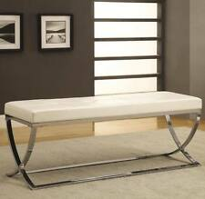 White Man-Made Leather Bench with Silver Metal Base by Coaster  501157